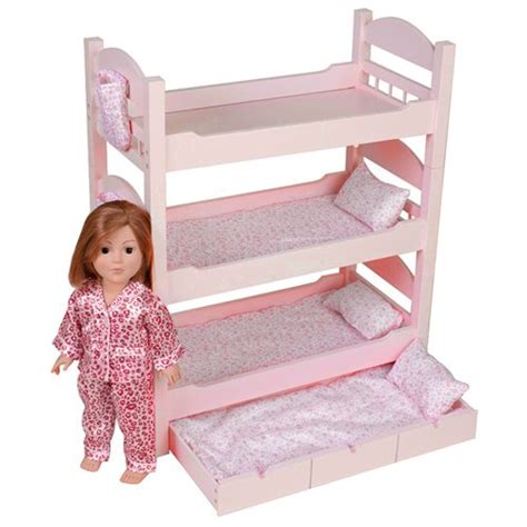 18 inch doll bunk bed 18 inch doll triple bunk bed stackable wooden furniture made to fit american girl or