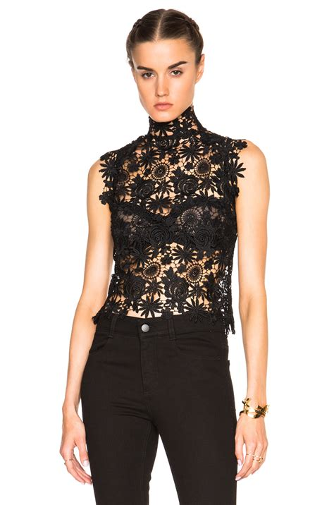 Black Sabrina Top lyst theperfext sabrina crochet lace sleeveless top in black