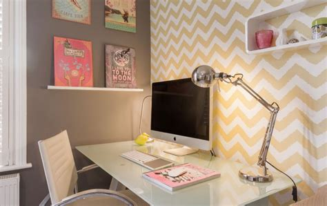 home office wallpaper how to wallpaper a space using a chevron pattern