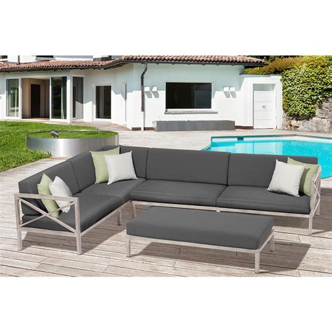 patio sectional set safavieh lynwood modular teak brown outdoor patio