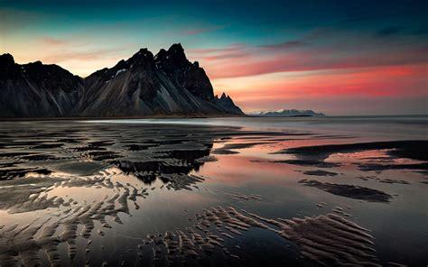 sunset mountains sea coast sand desktop hd wallpaper