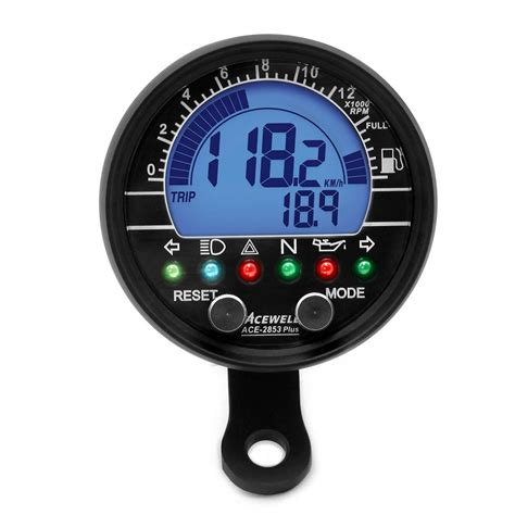 Mini Tacho Motorrad by Black Acewell 2853 Black Digital Speedometer Tachometer