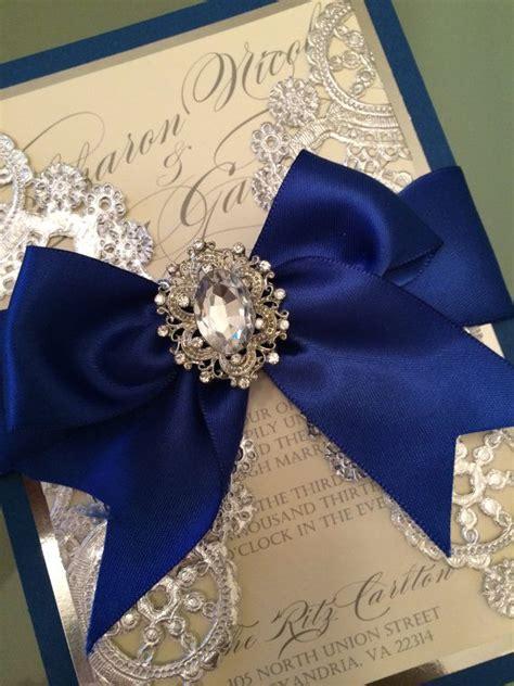 wedding invitations royal blue  silver