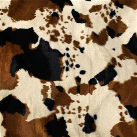 Cowhide Faux Fabric - brown cow velboa faux fur fabric sold by the yard
