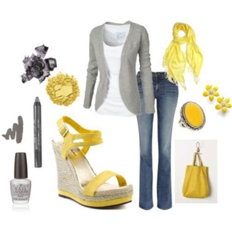 yellow gray casual outfit    school  date nights