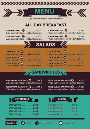 price menu template restaurant menu price list template vector 05 vector