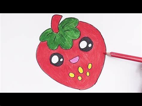 imagenes de fresas kawaii dibujando y coloreando fresa dulce drawing and coloring