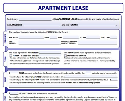 free apartment lease agreement template apartment lease form free printable documents