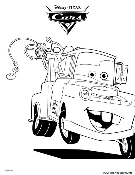 coloring pictures of mater from cars mater the tow truck cars coloring pages printable
