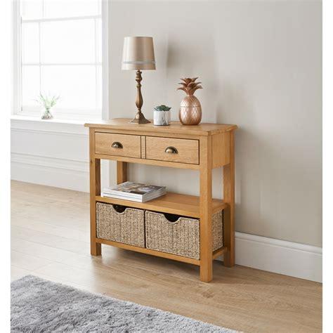 wiltshire oak console table  storage baskets