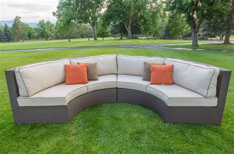 outdoor patio sofas curved patio sofa sunset west solana wicker 3 piece curved