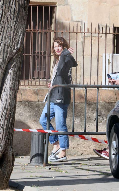 Mila Set milla jovovich arriving on set in barcelona 04 19 2018
