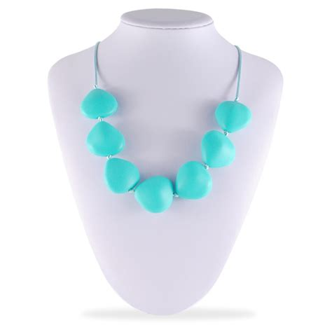silicone jewelry bpa free food grade silicone teething necklace baby safe