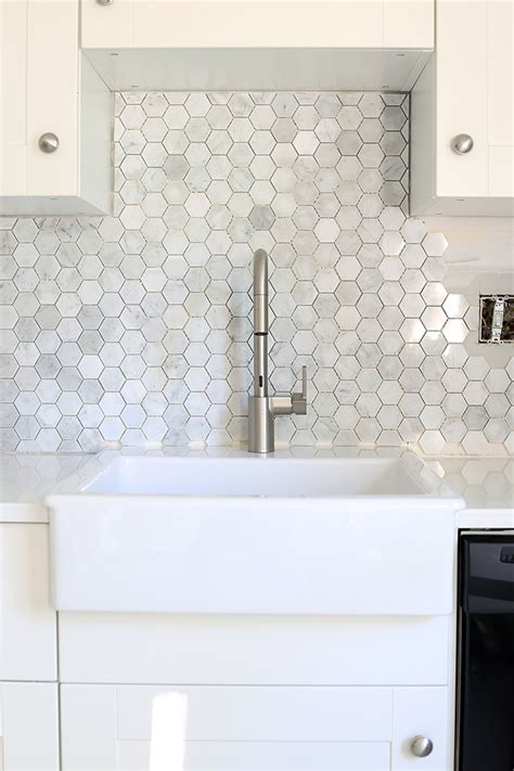 hexagon tile kitchen backsplash how to install a marble hexagon tile backsplash just a and