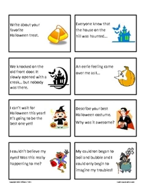 halloween writing themes halloween writing prompts journal starters 64 task cards