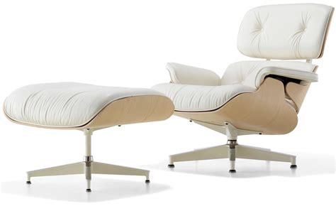 white chair and ottoman white ash eames 174 lounge chair ottoman hivemodern com