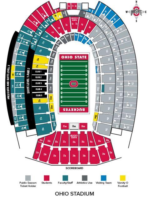 ohio state stadium seating chart ohio stadium seating chart football my