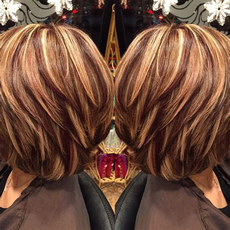 short hairstyles with chunky color foils highlights and lowlights josephashleysalon http