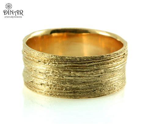wide silver band crafted coral textured by