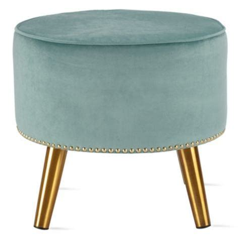 ottoman with gold legs madison park kelsey round pouff blue ottoman