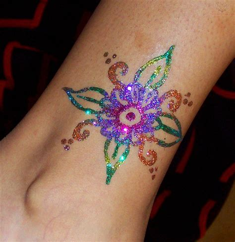 glitter tattoo designs colorful glitter flower design for leg