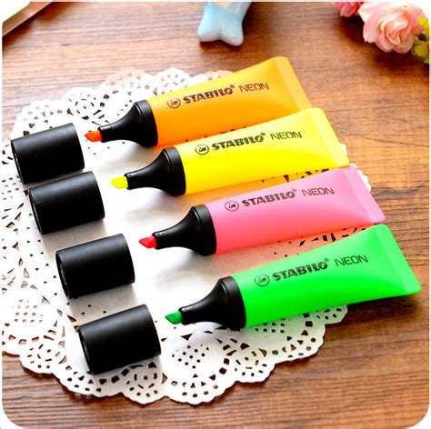 4 pcs lot stabilo neon highlighter toothpaste marker pen fluorescent oblique boligrafos