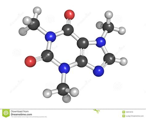 Molecular Model Of Caffeine Royalty Free Stock Images   Image: 34813319