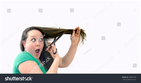 is there other ways of cutting a womens hair around the ears funny way cut long womens hair stock photo 282581978