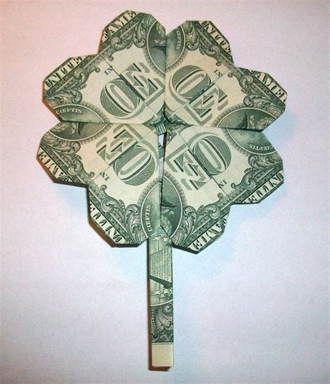 How To Make Money Paper - 4 leaf clover money origami dollar bill money