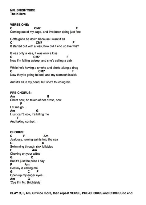 The Killers Quot Mr Brightside Quot Guitar Tab Print Kotaksurat