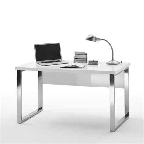 Sydney Office Desk In High Gloss White Top And Chrome Frame White Gloss Desks