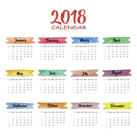 Calendario 2018 Illustrator Calendar 2018 Multicolor Design Vector Free