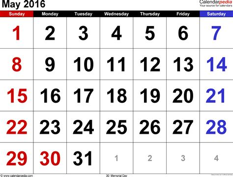 Mai Kalender 2016 May 2016 Calendars For Word Excel Pdf