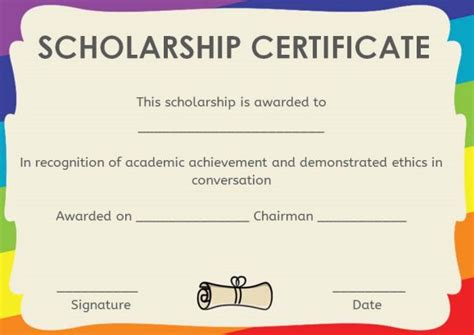 Scholarship Certificate Template 11 Professional Templates Demplates Memorial Scholarship Application Template