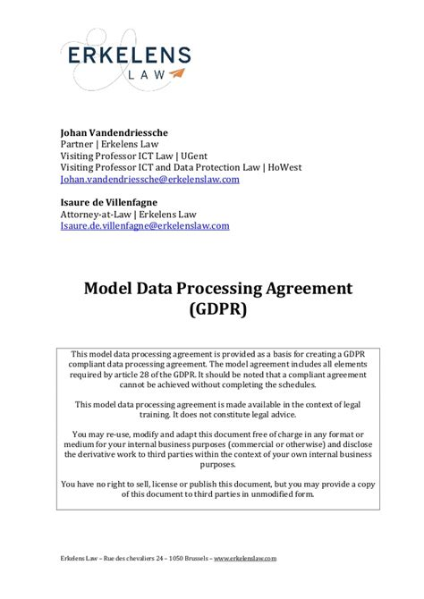 Data Processing Agreement Standard Contractual Clauses Gdpr Template
