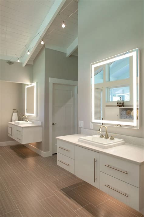 Master Bathroom Vanity Lights Dual Vanities In Master Bathroom With Lighting Underneath For Time By Nest Design