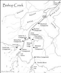 bishop creek map eastern fishing maps