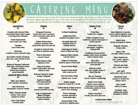 Menu Ideas For - catering menu seabirds truck wedding rustic barnyard