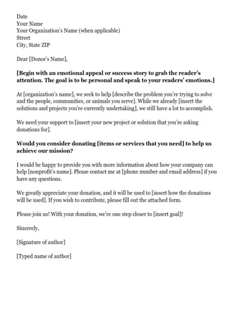 letter template asking for donations in donation letter sle letters font