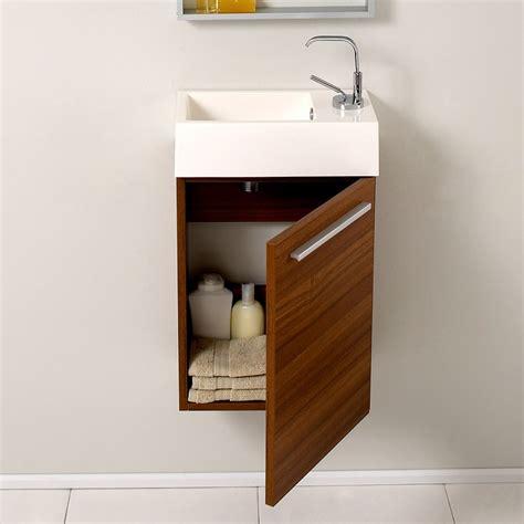 Small Modern Bathroom Vanity by Fresca Pulito Small Teak Modern Bathroom Vanity W Mirror
