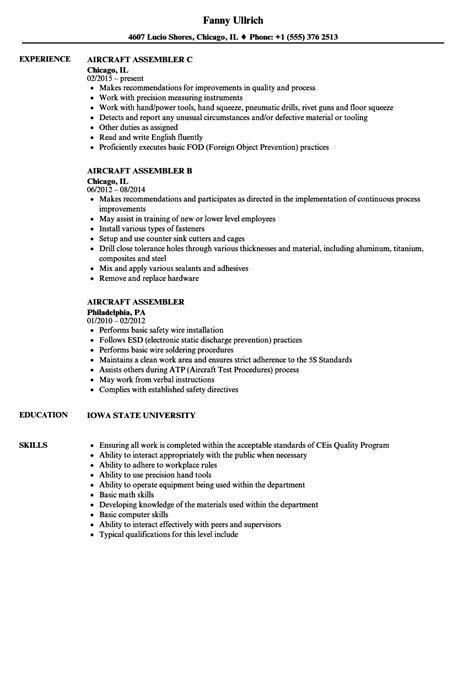 Assembler Resume by Aircraft Assembler Resume Sles Velvet