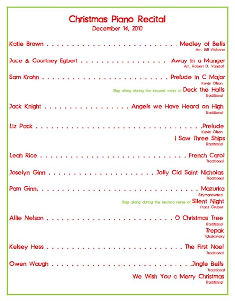 christmas program template emily s piano studio recital program