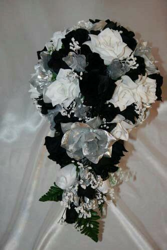 bridal bouquet package black silver white silk wedding flowers bridal only ebay