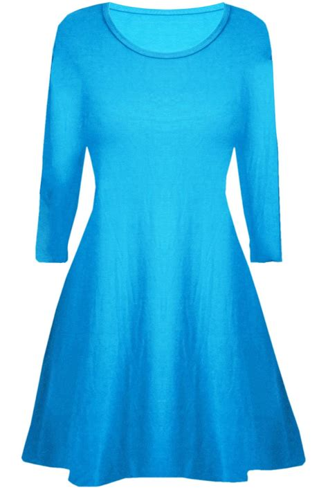 Plain Neck Dress swing dress neck plain flared sleeve