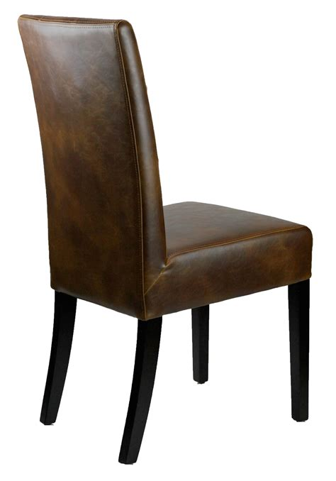Leather Parson Dining Room Kitchen Chairs Distress Dining Chairs Brown