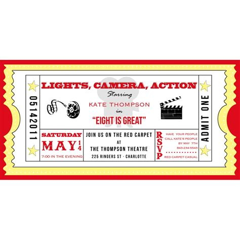 ticket invite template ticket cinema drive in birthday printable
