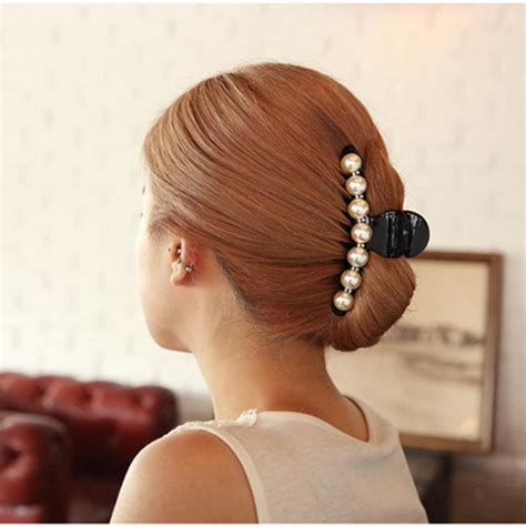 clip on bangs hairstyles with ponytail girls long hair accessories imitation pearl hair barrettes