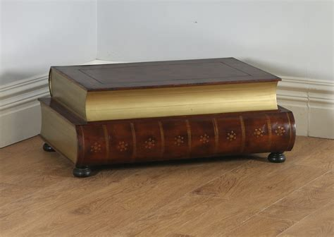 brown leather coffee table vintage brown leather book form shaped