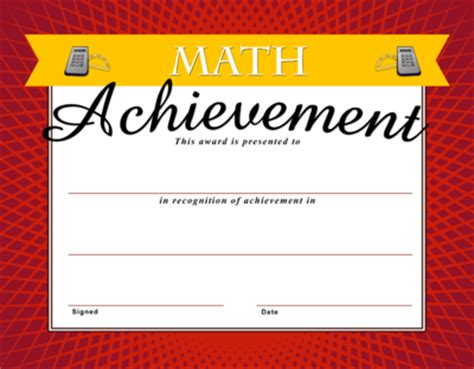 image math achievement certificate christart com