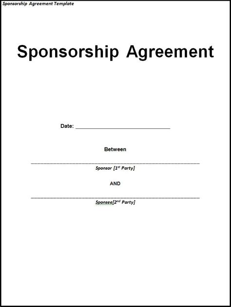 free sponsorship template sponsorship agreement template free printable word